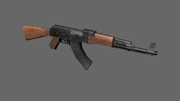 3d low-poly ak-47 assault rifle