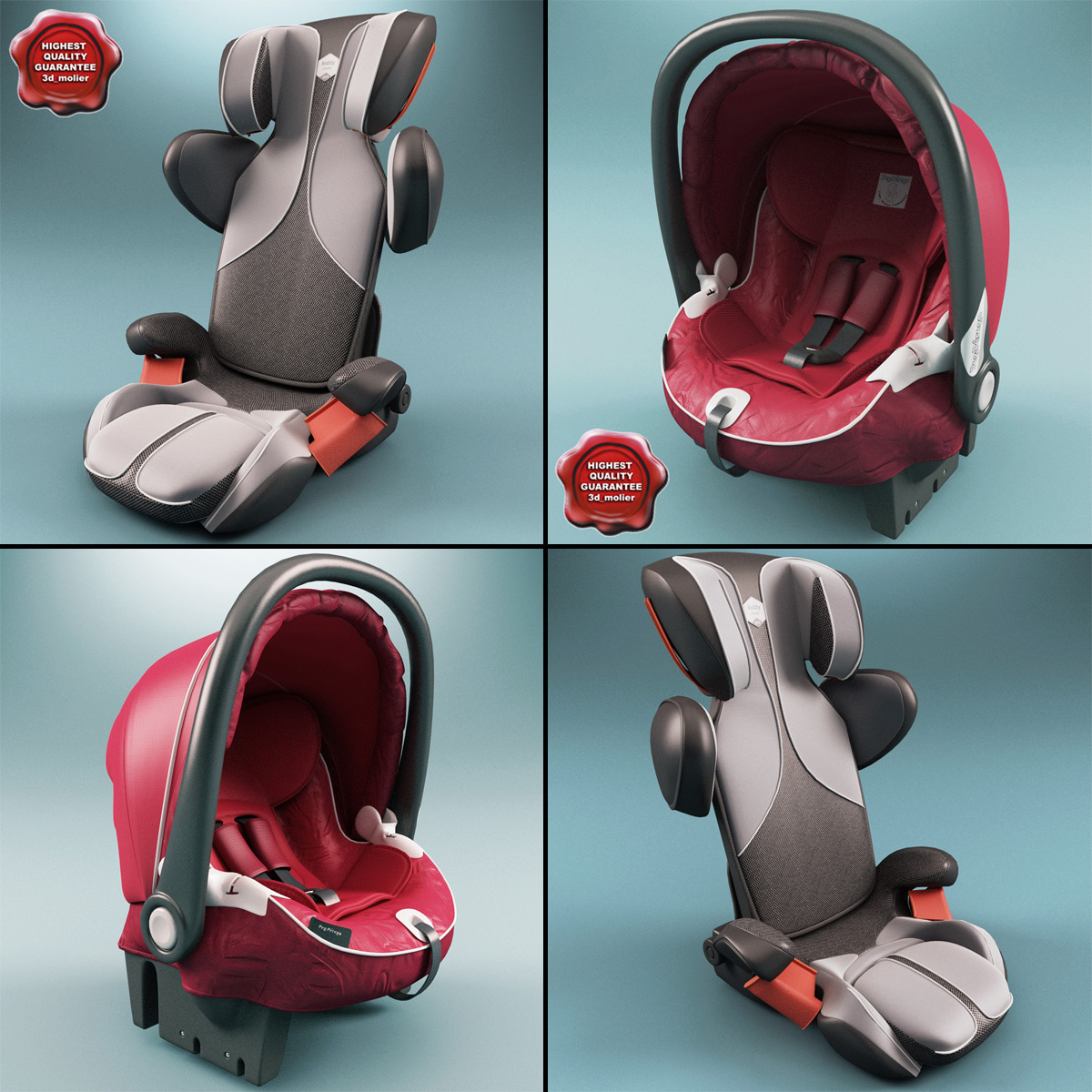 3d model kiddy car seats