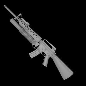 3d m16a2 m203 grenade launcher model