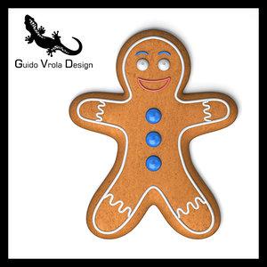 3d gingerbread man model
