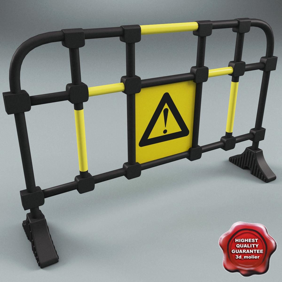 road safety barrier 3d model