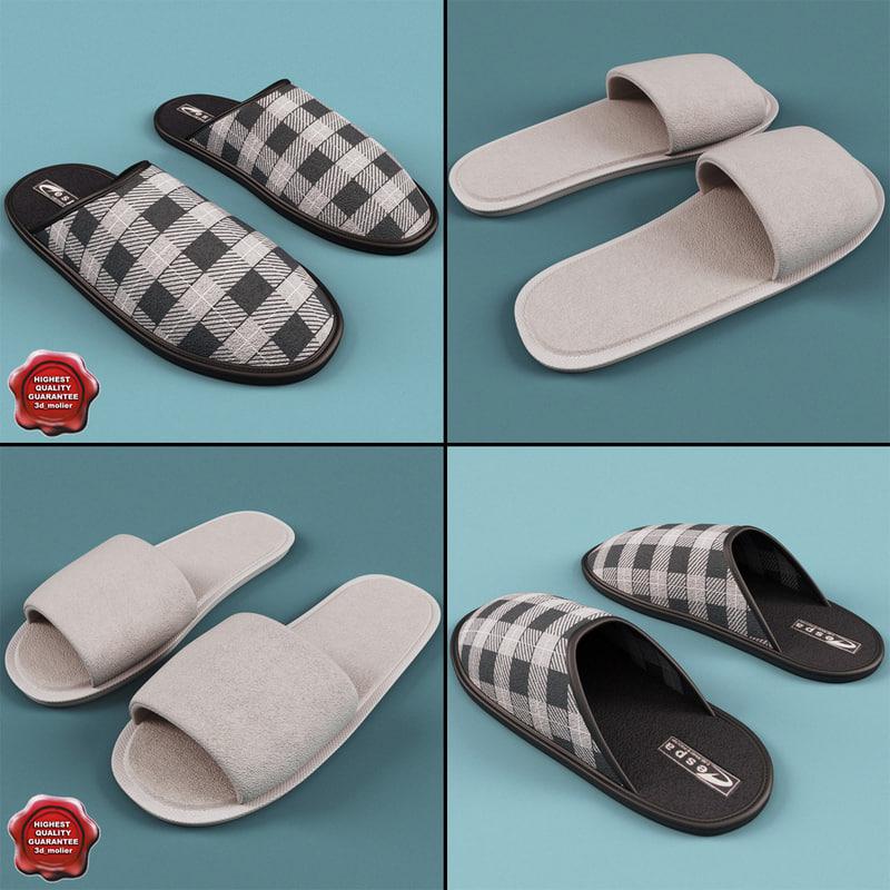 3ds max slippers set men