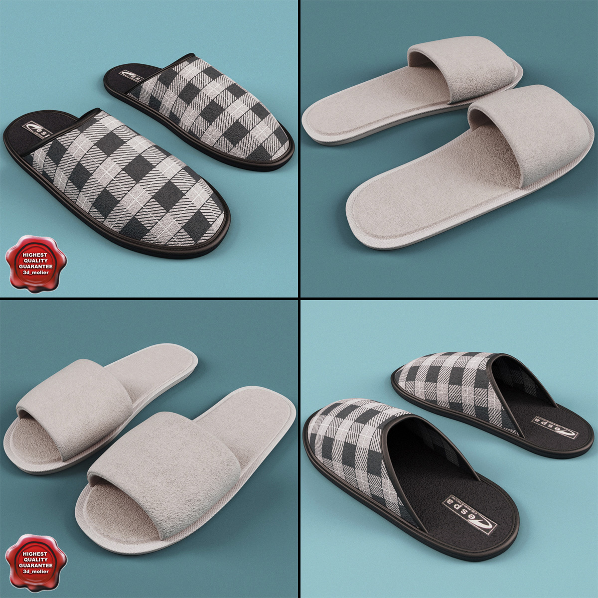 3ds max slippers set men