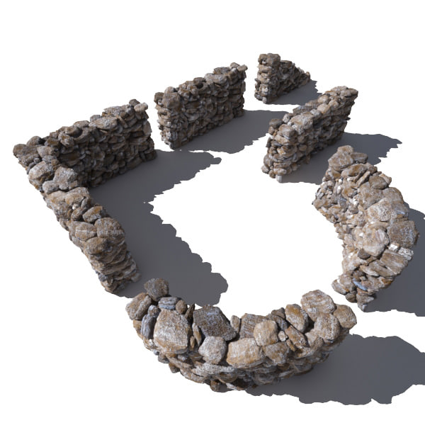 3d model stone wall - rocks