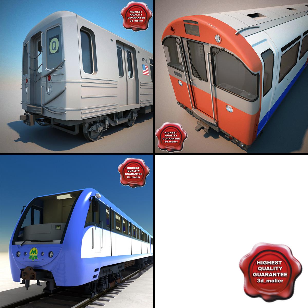 subway trains 3d max