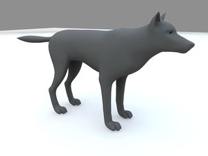 3d realistic rigging wolf