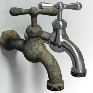 3d model old outdoor spigot faucet