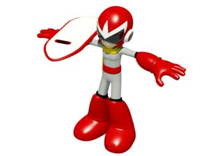 3d protoman robot boy model