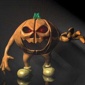 halloween pumpkin character rigged 3d 3ds