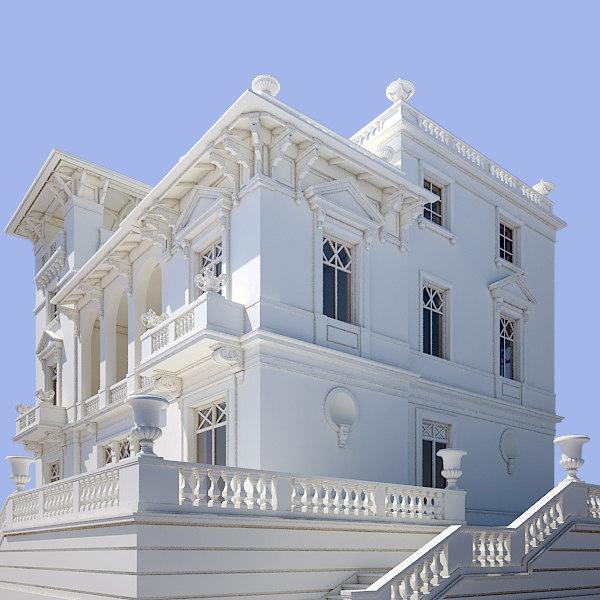 3d model ancient villa for Modele villa