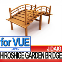 3d garden bridge japanese hiroshige model