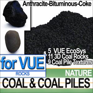 anthracite coal rocks vue 3d model