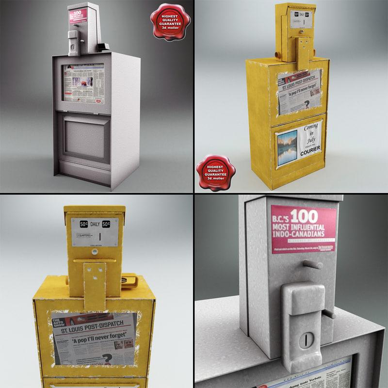 newspaper street dispensers 3d max
