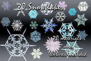 holiday 20 snowflakes 3d dxf