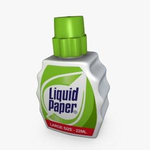 3d liquid paper model