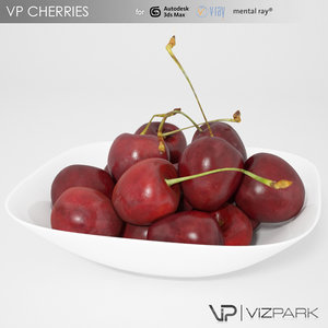 3d model cherries bowls