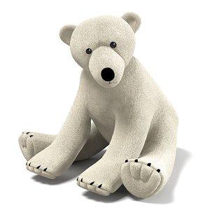 white polar plush 3d model