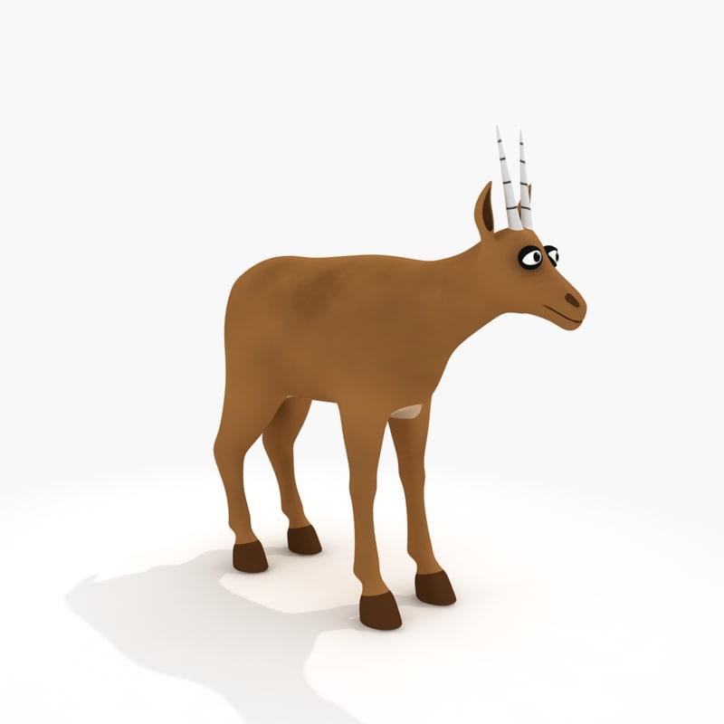 cartoon antelope rig 3d model