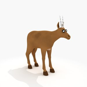 cartoon antelope rig 3d model