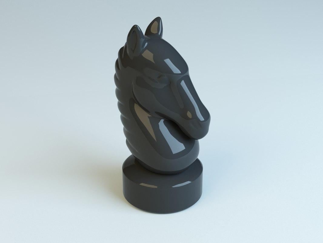 3d chess horse model