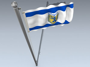 flag jerusalem 3d model