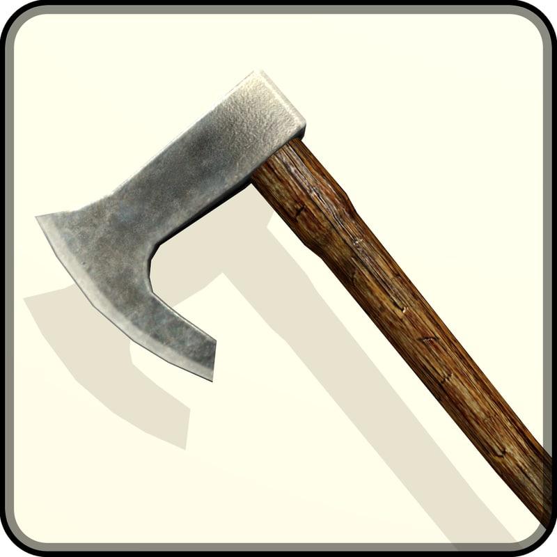 free obj model medieval battle axe