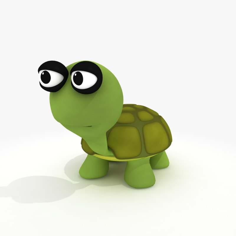 3d cartoon turtle rig model
