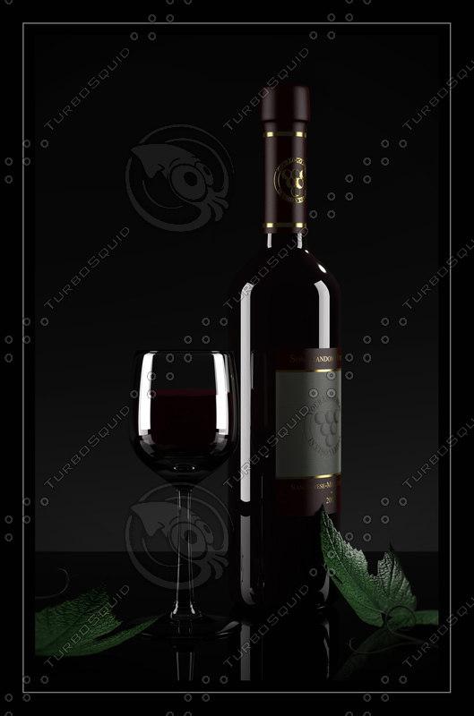 3d bottle wine glass grape model
