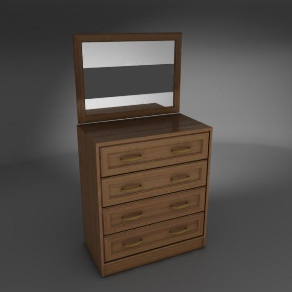 free commode bureau 3d model. Black Bedroom Furniture Sets. Home Design Ideas