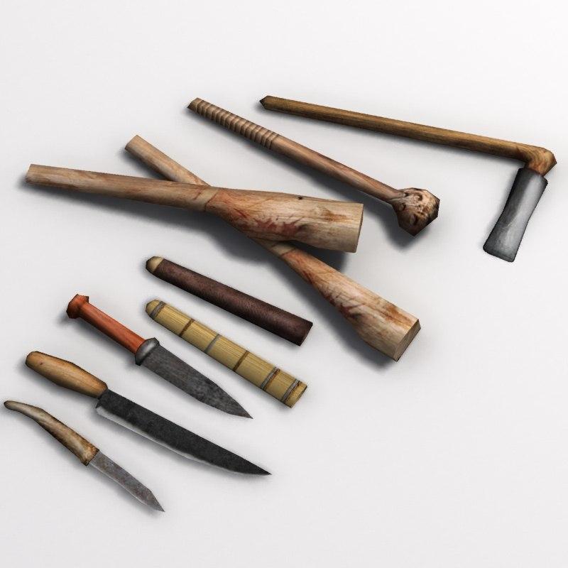 clubs knives 3d model