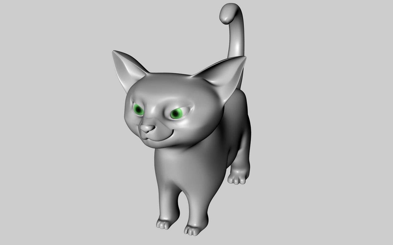 cartoon cat modeled 3d 3ds