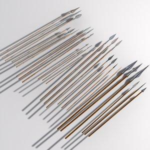 3d spears javelins model