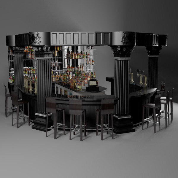3d model traditional bar