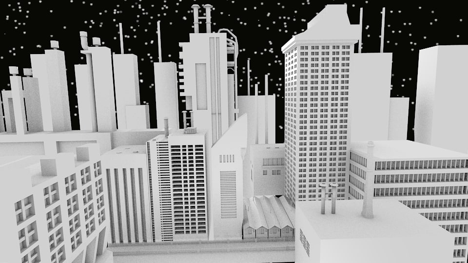 3d industrial city blender
