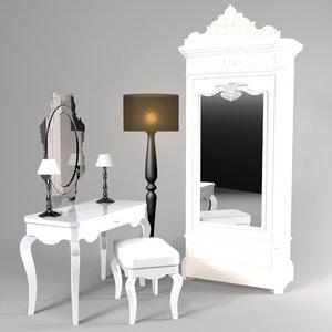 feminine dresser set 3d model
