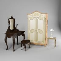 classical dresser set 3d max