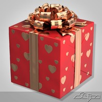 3ds max red gift box 2