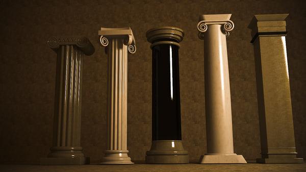 c4d pillar modelled