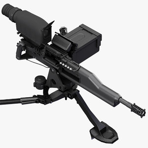 xm307 machine gun 3d max