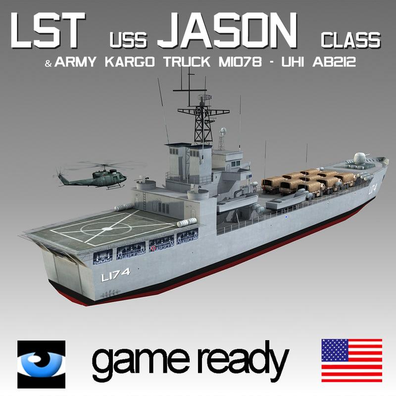 lst-uss jason class truck 3d c4d