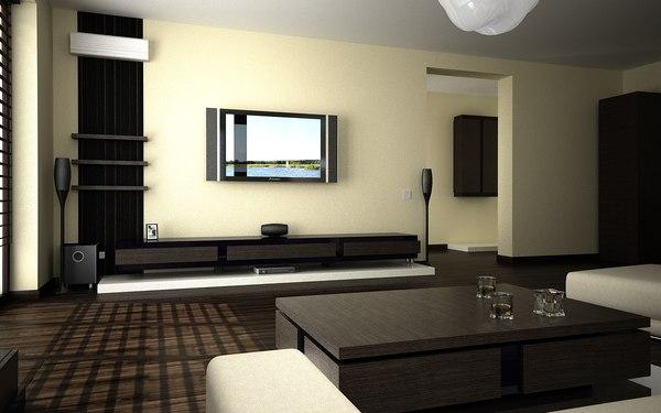 Salon et cuisine - Style moderne