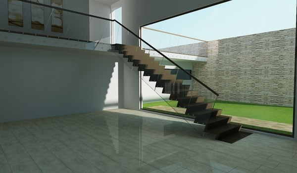 3d interior stairs showroom