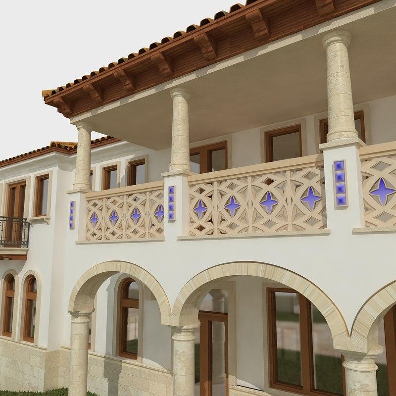 3d model of custom residence spanish