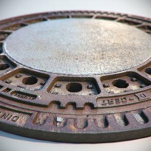3d max metal rusty sewer lid