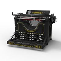 antique typewriter 3ds
