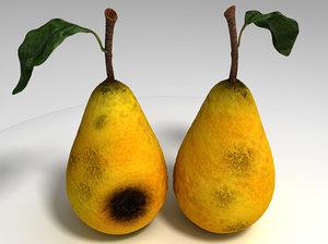 realistic rotten pear 3d c4d