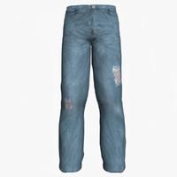 old blue jeans 3d model