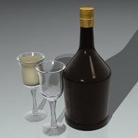 liquor bottle glass 3d model