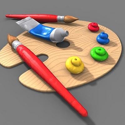 3d artist brush pallete model