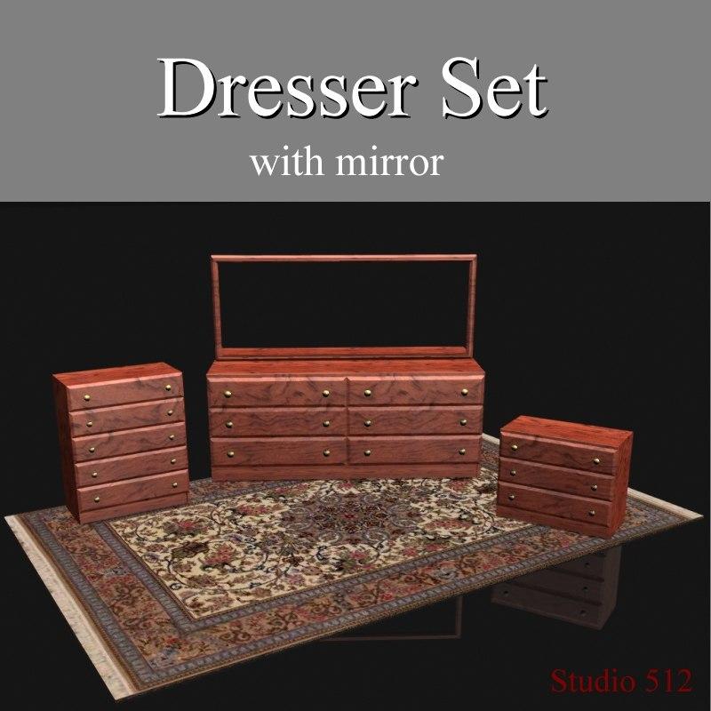 bedroom dresser set wood obj